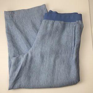 J Jill love linen blue stripes pull on pants large